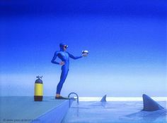 CONFLICT BETWEEN TO DIVE OR NOT TO DIVE - oil on canvas by Pascal Lecocq The Painter of Blue  12x16 41x31cm 2007 lec753 priv.coll. Bourgueil France.  pascal lecocq #hamlet #shakespeare  #art #blue #painterofblue #painting #painter #artist #contemporaryartcurator #artstack #artisticallysocial #in #pint