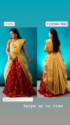 Lehanga Saree, Lehenga Saree Design, Lehenga Style Saree, Saree Look, Saree Dress, Half Saree Designs, Saree Blouse Neck Designs, Saree Wearing Styles, Saree Styles
