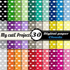 Cloud  Instant Download  DIGITAL PAPER   A4 & by Mycuteproject