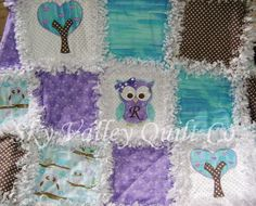 Baby girl Rag quilt Precious baby Owl in Teal by skyvalleyquiltco
