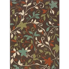 @Overstock.com - Make your patio or porch more welcoming with this colorful outdoor area rug. The cute floral design will accent your patio furniture nicely, and the weather-resistant rug will add cushioning under your feet to keep you comfortable outside.http://www.overstock.com/Home-Garden/Brown-Green-Outdoor-Area-Rug-67-x-96/6233216/product.html?CID=214117 $149.99
