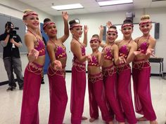 "Chloe Lukasiak, Nia Frazier, Kendall Vertes, Mackenzie Ziegler, Maddie Ziegler, Brooke Hyland, and Paige Hyland in their costumes for ""Arabian Nights"""