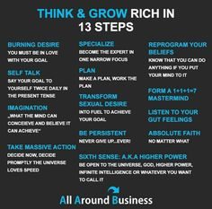 Think and Grow Rich 13 Steps Financial Quotes, Financial Literacy, Financial Tips, Financial Planning, Business Money, Business Tips, Online Business, Quotes Dream, Life Quotes Love