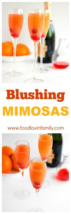 Blushing Mimosas - A dash of pineapple juice and grenadine, adds a lovely twist to this brunch time classic. Mimosa, Brunch, Mother's Day, Easter
