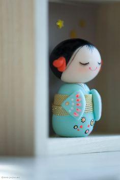 Polymer clay miniature doll Kokeshi doll OOAK by JooJooTreasures