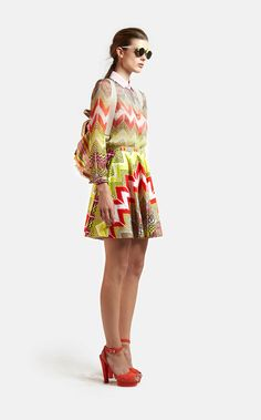 Carven zig zag dress with high collar