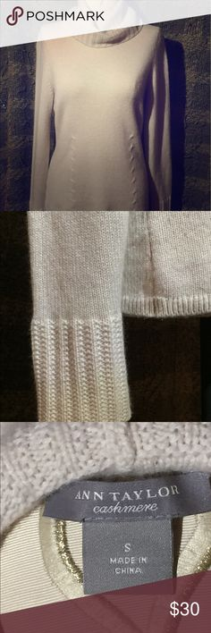 🔥 Markdown Price!!🔥Ann TaylorCashmere Sweater Ann Taylor cream Cashmere Sweater. Only worn once and in excellent condition. Extremely comfortable. Michael Kors purse not included but listed separately. Ann Taylor Sweaters Crew & Scoop Necks