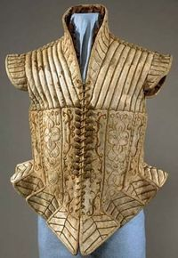 Jerkin Late 16th century or early 17th, Italy, Suede leather lined with taffeta and embroidered; padded,