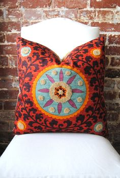 "Tribal Thread Suzani - Decorator Fabric Pillow - 20""x20"""
