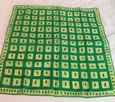 "Vtg 1950s Vera Neumann Silk Spring Lime Green Mod Squares Dot Border 16"" Square #VeraNeumann #Scarf"