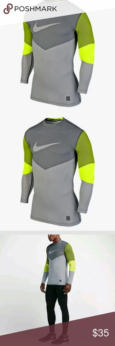 NIKE HYPERWARM CREW FITTED THERMAL PERFORMANCE COMFORT AND MOBILITY.  The Nike Pro Hyperwarm Line Crew Fitted Men's Shirt is designed with Dri-FIT Max fabric and underarm mesh gussets for lightweight, breathable comfort and natural range of motion during practice and games.  Benefits: Dri-FIT Max fabric wicks sweat away to help keep you dry, faster. Thermal mesh at the back and underarm for breathability. Ergonomic seams for enhanced comfort. Flat seams move smoothly against your skin…