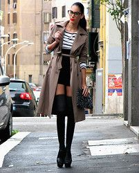 stockings/glasses/trench