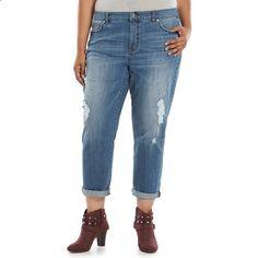 Plus Size Jennifer Lopez Boyfriend Jeans, Womens, Size: 18W Short, Med Blue
