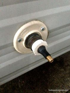 Connecting the blow out plug / How to winterize an rv by blowing out the lines. No messy antifreeze in your drinking water! via www.funkyjunkinte...