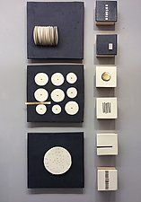 """Black and White and a Little Gold by Lori Katz (Ceramic Wall Sculpture) (41"""" x 20"""")"""