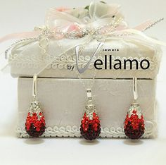 Red teardrop shape swarovski pave sterling silver by byVellamo, $44.00
