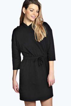 Harriet Hooded Drawstring Sweat Dress at boohoo.com