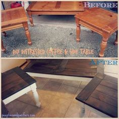Maybe stain the little old garage sale table. DIY Farm table Coffee and side tables! Took cheap pine colored tables and made them cute farm-style tables! Refurbished Furniture, Repurposed Furniture, Furniture Makeover, Painted Furniture, Modern Furniture, Furniture Design, Furniture Refinishing, Refurbished Coffee Tables, Cheap Furniture