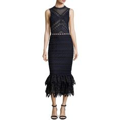 Jonathan Simkhai Lattice Embroidered Organza Mermaid Dress (48,190 PHP) ❤ liked on Polyvore featuring dresses, multi, sheer cut out dress, high neck dress, mermaid gown, sleeveless cocktail dress and 2 piece cocktail dress