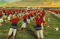 Vintage poscards. The mass calisthenics 'Song in Praise of the Revolution'. China
