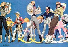 All kinds of cute, alluring pinup cowgirl fun. #vintage #pinup #cowgirl #art