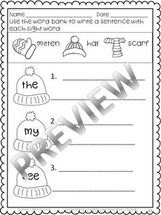 Winter Print and Learn - Literacy and Math - Kindergarten - Great for morning work, homework, math and literacy centers, interventions, and minilessons - phonics, rhyming - writing - reading - numbers - greater/less/equal - number bonds & more $