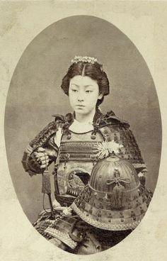 """""""Female Samurai"""", late 1800s. An onna-bugeisha (女武芸者?) was a female warrior."""