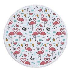 7aa9f9de8ead9 Ariel Sarah Flamingo Round Beach Towel Newest Style Fashion Beach Towel  with Tassels Microfiber Picnic Blanket Mat Tapestry