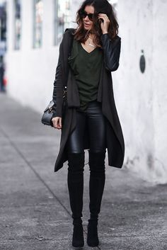leather pants, over the knee boots, leather cardigan