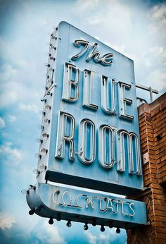 vintage neon sign via Marc Shur ~ How funny! The Blue Room, on San Fernando in Burbank California. A very old haunt of mine, cheap beer and kind folk!!!!