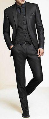 En Gris Oscuro Groom Traje Personalizado Boda trajes para hombres, bespoke Novio Smoking in Ropa, calzado y accesorios, Ropa de boda y formal, Vestuario formal de hombres   eBay