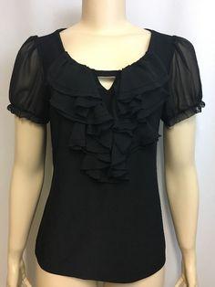White House Black Market Top M Ruffles Sheer Sleeves Career Dressy Keyhole Neck #WhiteHouseBlackMarket #RuffledTop #Career