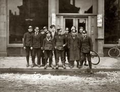 "March 8, 1909. New Haven, Connecticut. ""Telegraph messenger boys. They work until 11 p.m."" Photo and caption by Lewis Wickes Hine."