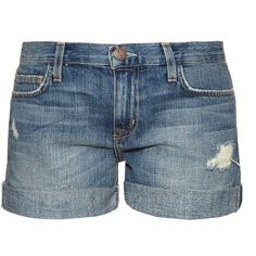 Current/Elliott The Boyfriend denim shorts (240 CAD) ❤ liked on Polyvore featuring shorts, bottoms, pants, short, denim, distressed jean shorts, distressed denim shorts, jean shorts, ripped jean shorts and distressed shorts