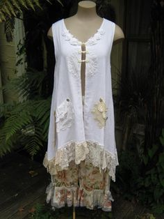 Vintage Kitty.. Lily Hannah WHITE range.. beautiful cotton muslin tunic vest.. .vintage needlework.. antique buttons.. MED - XL. $189.00, via Etsy.
