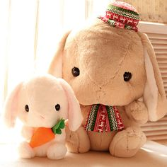 Candice guo super Q plush toy Amuse Lolita Loppy rabbit Christmas Carrot long ear bunny stuffed doll birthday gift present 1pc