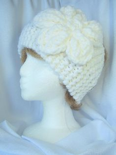 White Lambs Wool Blend Knit Ladies Headband with Flower #HAFteam #handmade #gifts $15.00