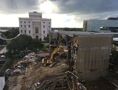 Downtown Baton Rouge Library Demolition with the Old State Capitol in the background