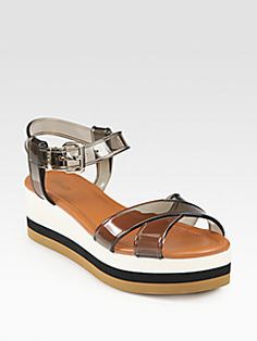 Fendi Hydra Jelly Crisscross Wedge Sandals