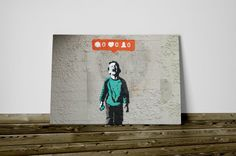 Quadro Bansky stampa su tela 70x50 social network già intelaiato street graffiti