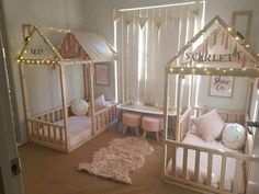Kids/childrens shared girls bedroom wonderland twinkle light cubby bed canopies pink white and grey palette fluffy rug bunting flags // House beds for the girls! Twin Girl Bedrooms, Baby Bedroom, Little Girl Rooms, Twin Bedroom Ideas, Kids Bedroom Girls, Boy And Girl Shared Bedroom, Nursery Ideas, Nursery Boy, Chic Nursery
