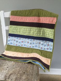 Toddler Quilt Strip Quilt Toddler Bed Quilt Lap by quiltyobsession