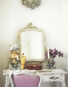 Vanity table, pull-out drawers on top to organize make-up in. Mirror free standing hung on wall. Love the antique details of the vanity table and chair. My Home Design, Home Interior Design, House Design, Exterior Design, Boudoir, Purple Home, My Living Room, Decoration, Home Projects