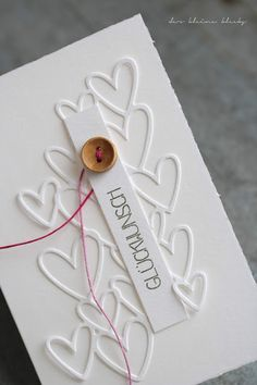 Clean and simple card with hearts - hearts diecutting, Sizzix Scattered Hearts Glückwunsch - Klartextstempel Dani Peuss Penny Black, Wonderful Day, Snail Mail, Wedding Cards, Stampin Up, Card Ideas, Packaging, Place Card Holders, Letters