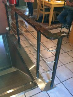 I really love the dark brown and black colors on the top of this handrail.  It provides a nice detail that customers will notice and appreciate.  It would look great in any business or home.