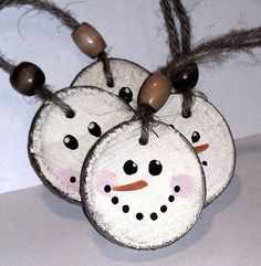 Wood disc snowmen - Get rid of bead and add rustic fabric