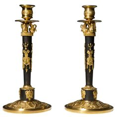 Pair of Gilt and Patinated Bronze Candlesticks, circa 1805 | From a unique collection of antique and modern candle holders at https://www.1stdibs.com/furniture/decorative-objects/candle-holders/