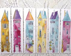 Book marks 6 colourful Illustrations of tall houses, colourful prints from original art - - Book marks 6 colourful Illustrations of tall houses, colourful prints from original art Дома Lesezeichen 6 bunte Illustrationen von hohen от Shelikesthis Watercolor Bookmarks, Watercolor And Ink, Watercolor Paintings, Watercolors, Simple Watercolor, Watercolor Galaxy, Watercolor Landscape, Fun Illustration, Watercolor Illustration