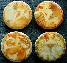 Collection of 4 Czech Glass Buttons #A736 - XXL - 4 DIFFERENT ART NOVEAU MOTIFS