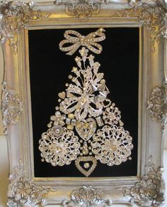 Jeweled Framed Jewelry Christmas Tree Black Velvet Silver Vintage Deco